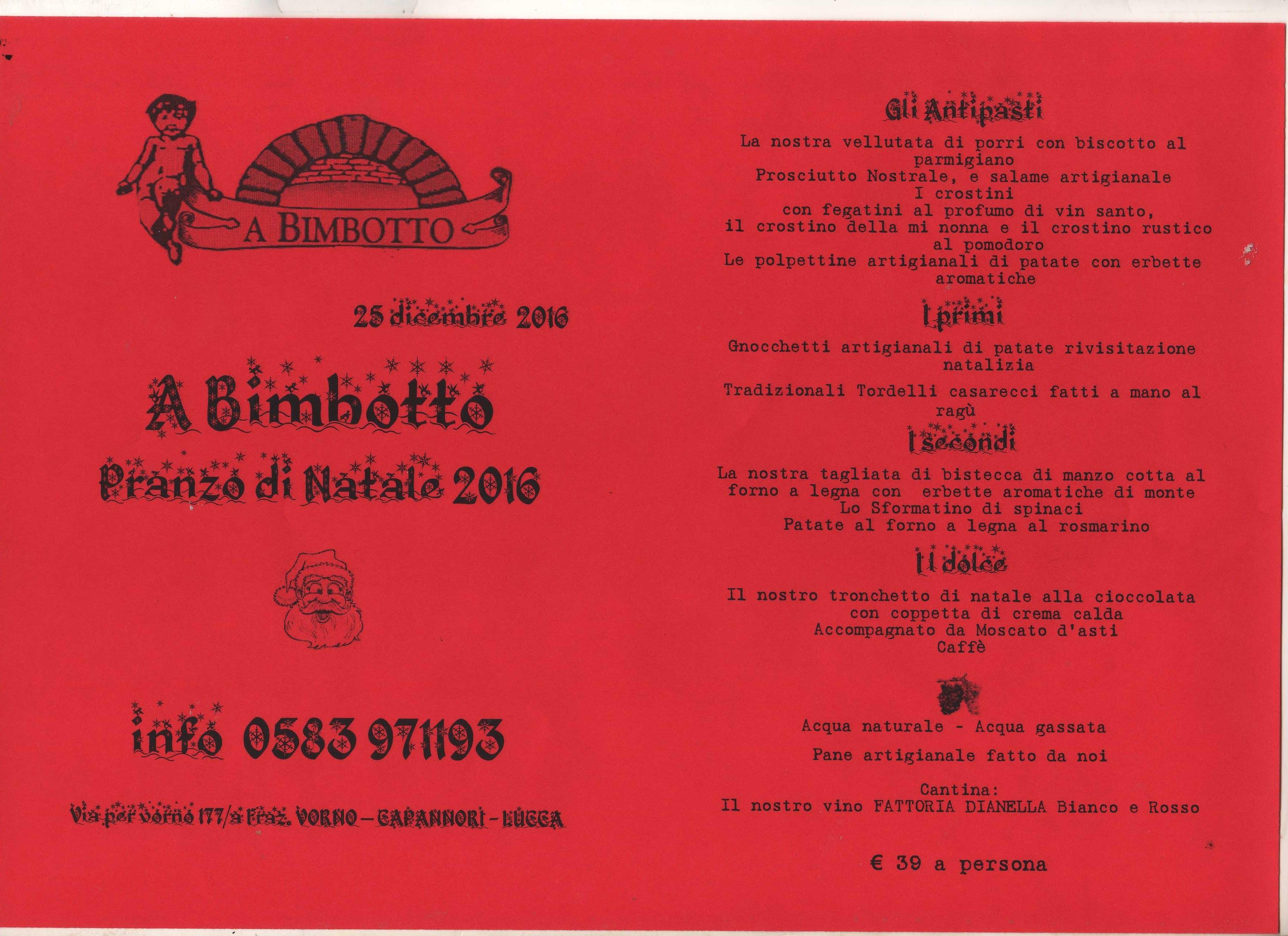 Ristorante a bimbotto menu 39 pranzo di natale 2016 - Menu per ospiti a pranzo ...